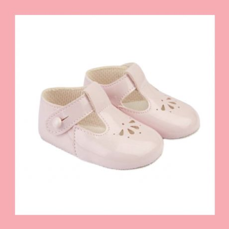 Girls Pink Patent T-Bar Baypod Pram Shoes